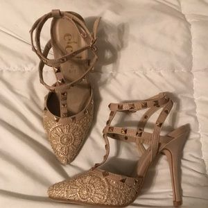Strappy studded embroidered heels. NWOT